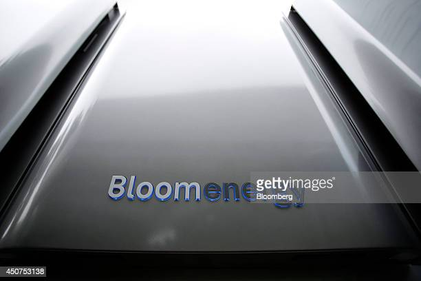 A Bloomenergy logo sits on the casing of the Bloom Energy Server a solid oxide fuel cell electricity generation system manufactured by Bloom Energy...