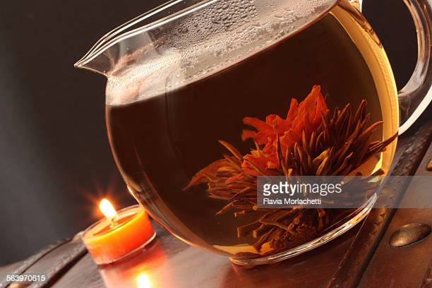 Blooming tea with green tea and ginseng flower