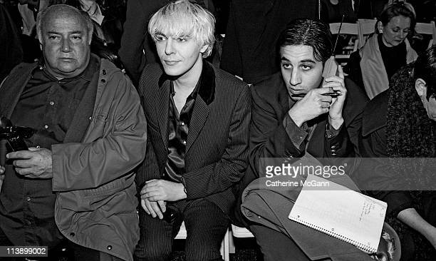 Bloomingdales' executive Kal Ruttenstein Nick Rhodes of Duran Duran and friend at a fashion show in 1994 in New York City New York