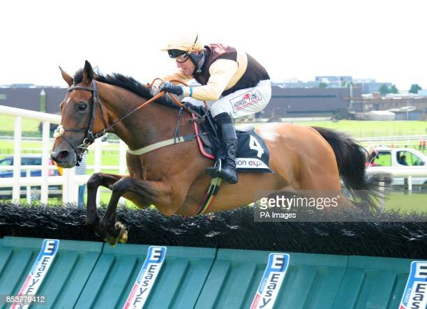 Blossom Gate and Robbie Power jump the last to win the Vision Express Handicap Hurdle on day seven of the Galway Festival at Galway Racecourse Ireland