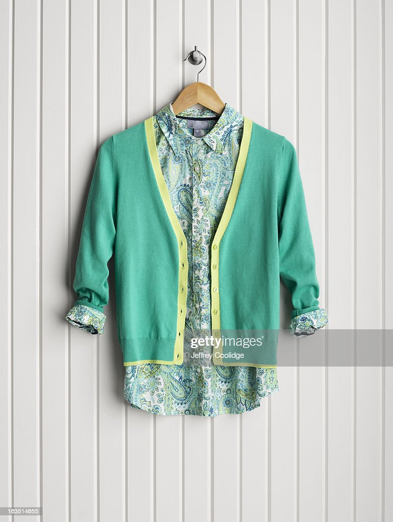 Blouse and Sweater on Coat Hanger