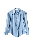 Blue silk office blouse isolated over white