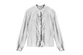 White silk blouse with polka dots isolated over white
