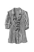 Chiffon striped black and white blouse on white background