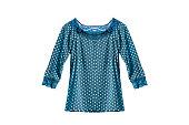 Blue silk blouse on white background