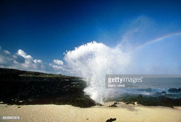 Blow hole spouting seawater 27th May 1997 on Ascension a small isolated volcanic island in the equatorial waters of the South Atlantic Ocean roughly...