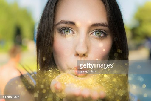 Blowing gold dust