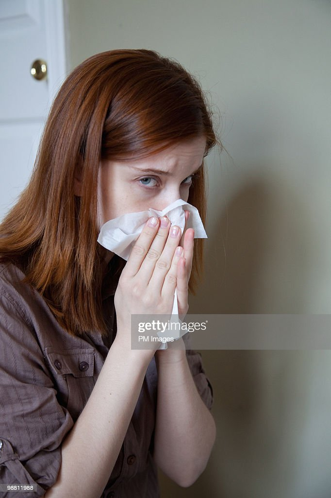 Blowing nose  : Stock Photo