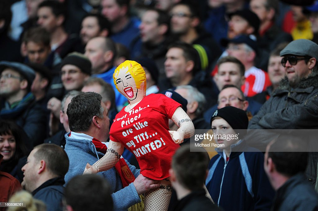 A blow-up doll wearing a shirt protesting ticket prices during the Barclays Premier League match between Arsenal and Stoke City at Emirates Stadium on February 2, 2013 in London, England.