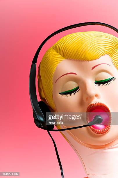 Blow-up Doll mit Telefon-Headset