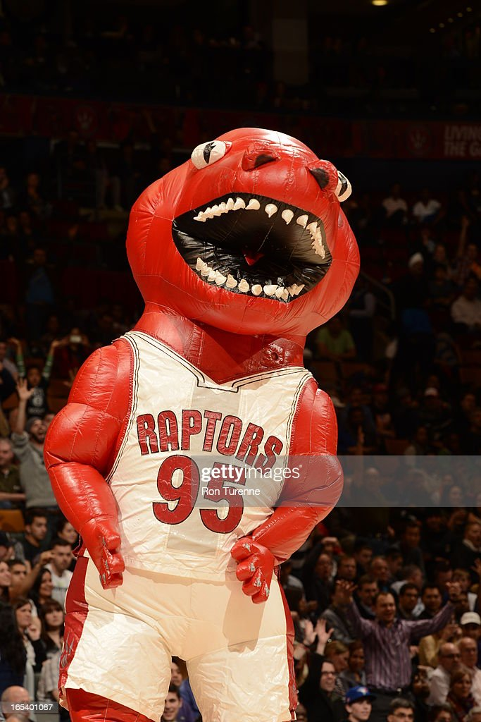 A Blowup of the Toronto Raptors mascot against the Washington Wizards during the game on April 3, 2013 at the Air Canada Centre in Toronto, Ontario, Canada.