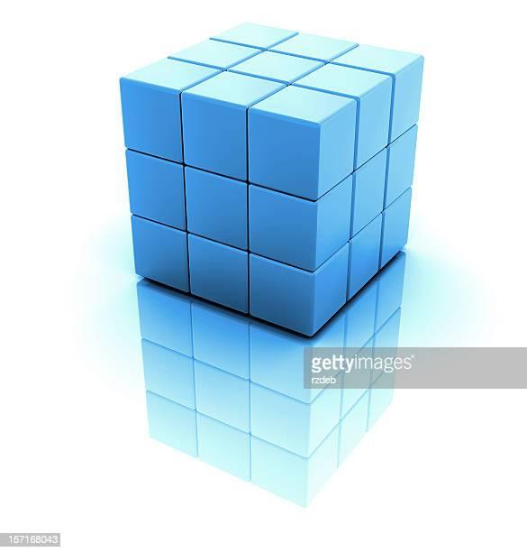 Blue 3D blocks creating a large block