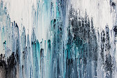 blue abstract acrylic painting on canvas