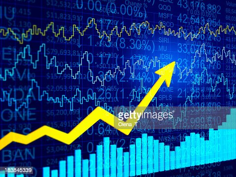 3D blue abstract financial data diagram with a yellow arrow