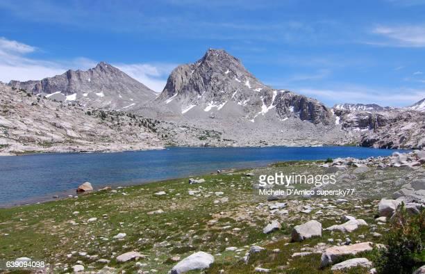Blue alpine lake surrounded by granite peaks