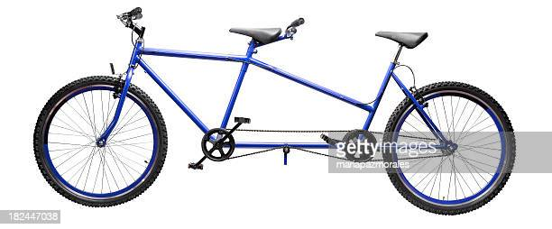 A blue and black tandem bicycle