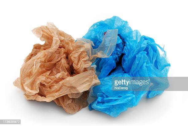 Blue and brown plastic grocery bags