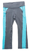 Blue and gray women's athletic pants on white
