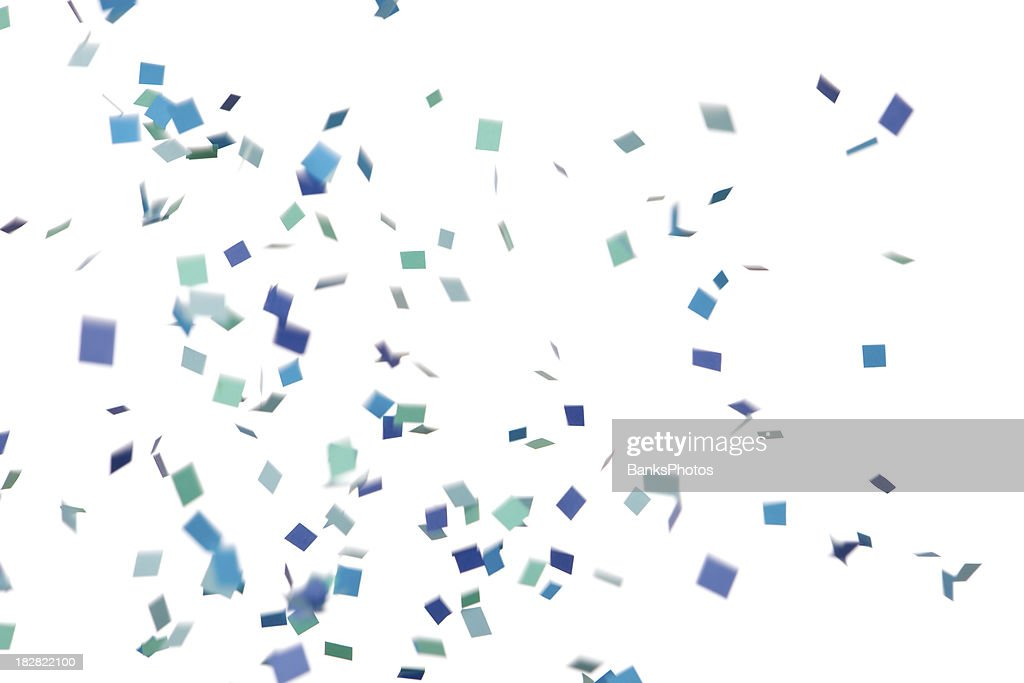 'Blue and Green Confetti Falling, Isolated on White'