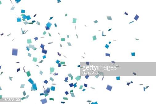 Azul e verde de Confete cair, isolado a branco