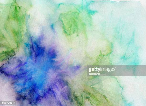 Blaue und grüne Farbtöne handbemalte mit Wasserfarben und Tinte