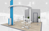 Blue and Grey Exhibition Stand  3d Rendering