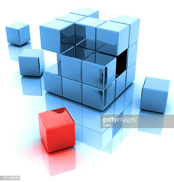 Blue and One Red 3D Blocks