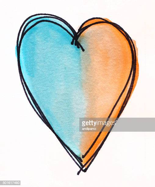 Blue and orange hand painted heart on white background