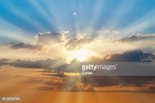 Blue and orange sunset sky : Stock Photo