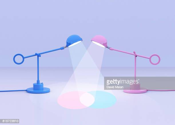 Blue and pink lamps creating a venn diagram