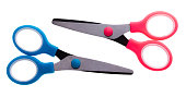 Blue and pink scissors isolated on white background