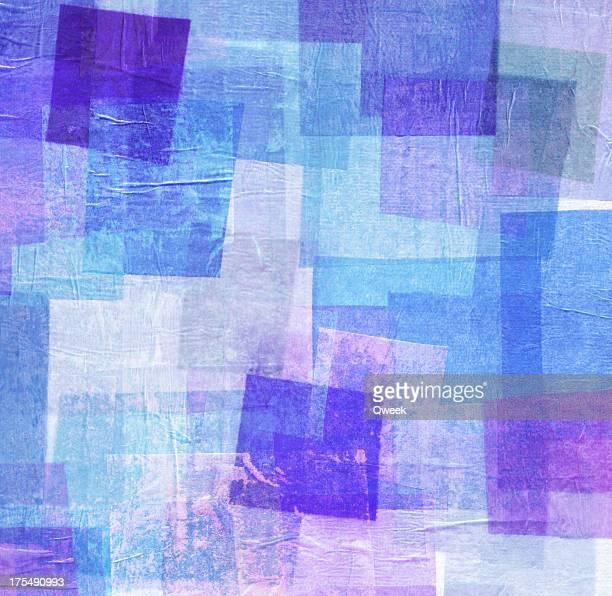 Blau und Lila Seidenpapier Collage