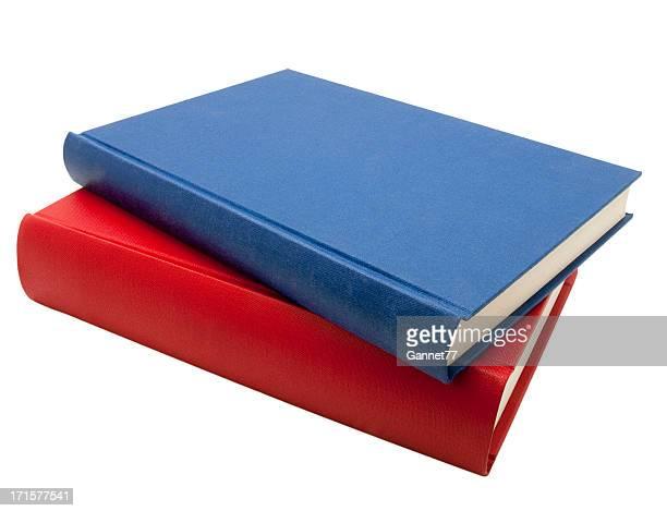 Azul e vermelho de livros isolado no branco