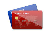 Blue and red credit cards on white background. Horizontal composition with clipping path.