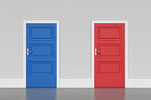 Blue and red doors, concept of choice. 3D rendering