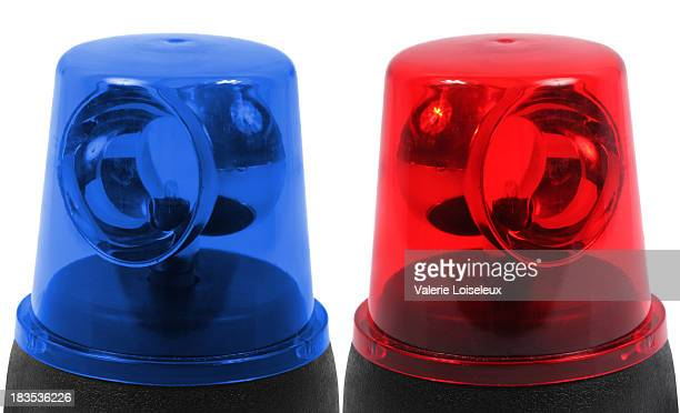 Blue and red emergency lights