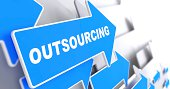 Outsourcing - Business Background. Blue Arrow with 'Outsourcing' Slogan on a Grey Background. 3D Render.