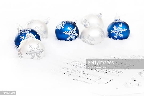 Blue and White Baubles on snow