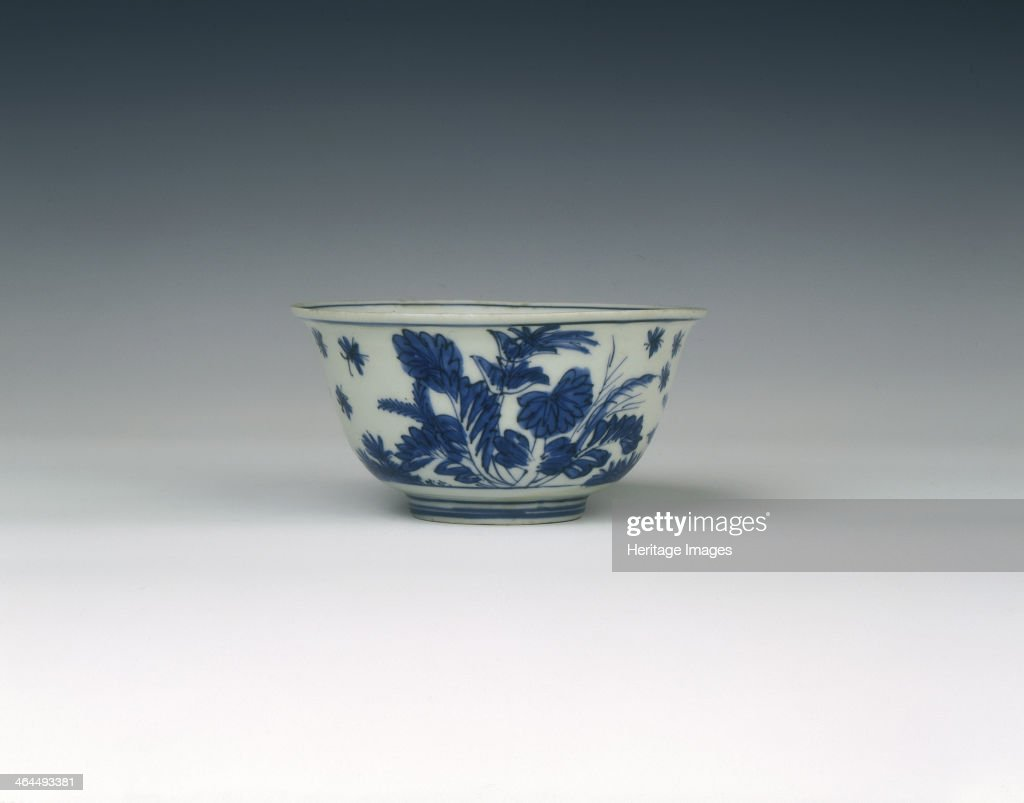 Blue and white bowl with cabbagelike flowers Ming dynasty China 15501580 Small blue and white bowl with slightly everted rim The piece is decorated...