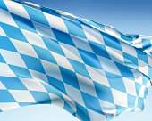 Bavarian flag waving in the wind. Elaborate rendering including motion blur and even a fabric texture (visible at 100%).