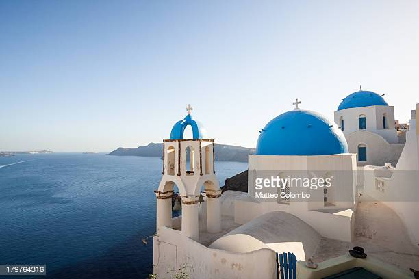Blue and white churches in Santorini Greece