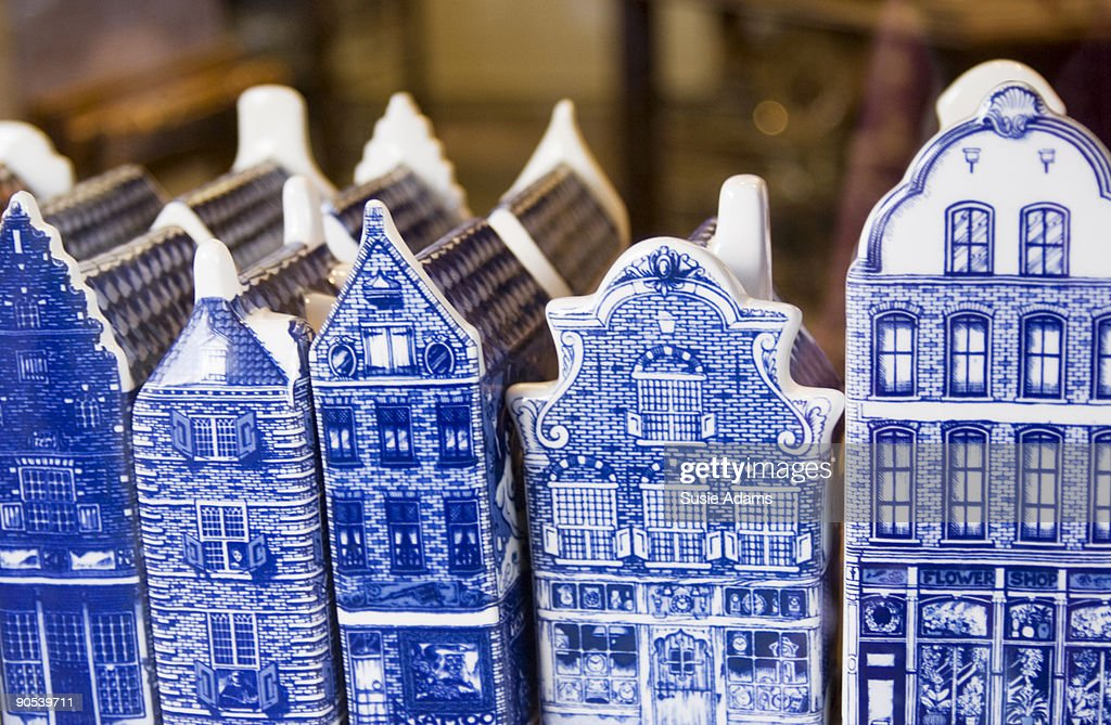 Blue and white houses : Stock Photo