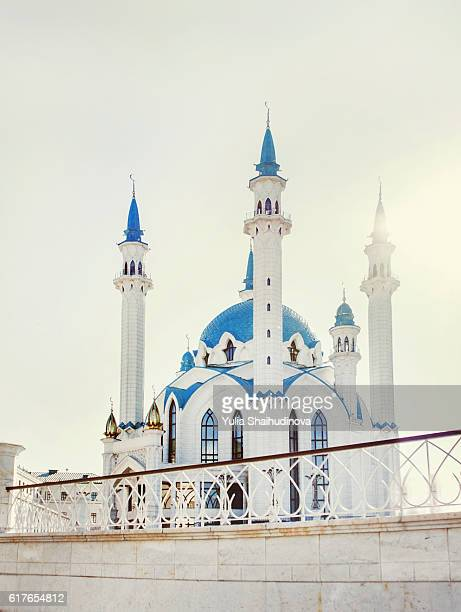 Blue and white Kul sharif mosque in Kazan Kremlin