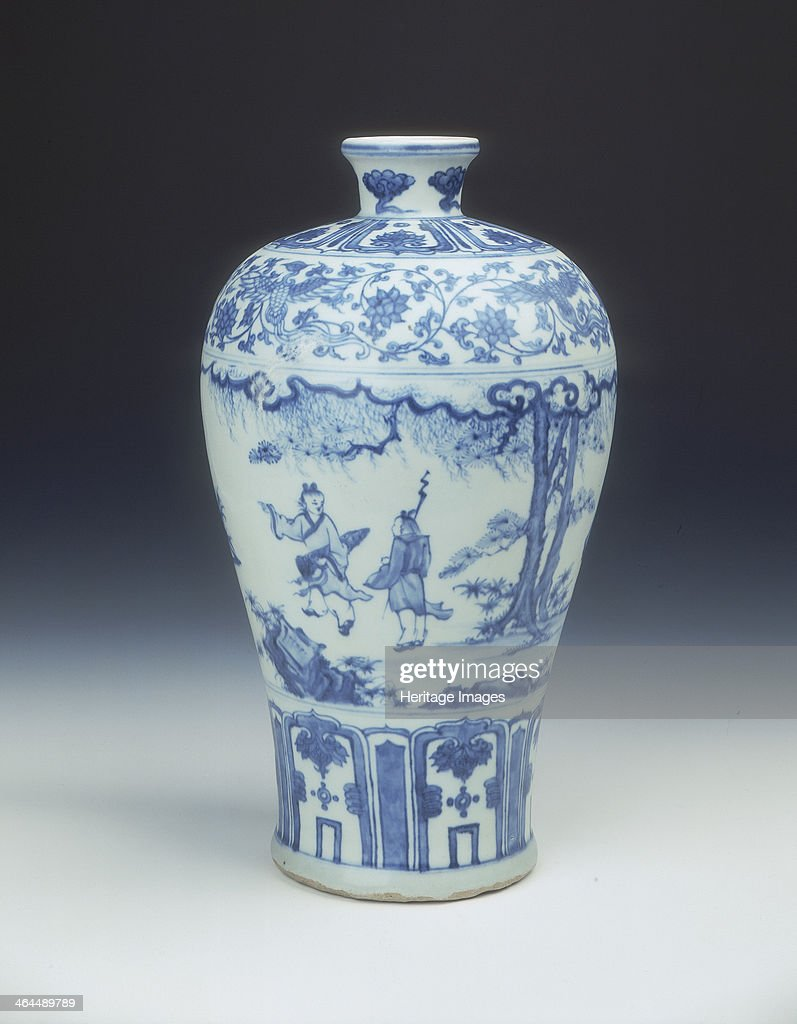 A blue and white meiping vase decorated in the socalled 'windswept' style The main decoration is of two scholars meeting in a landscape their...