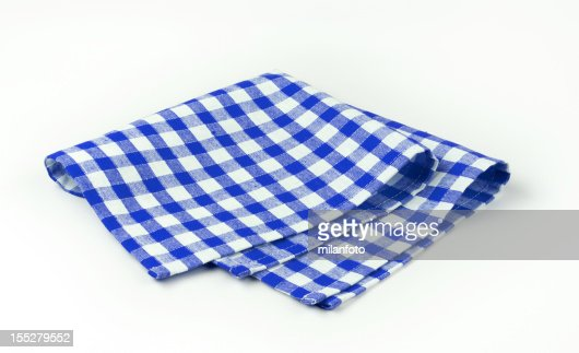 Blue and white napkin