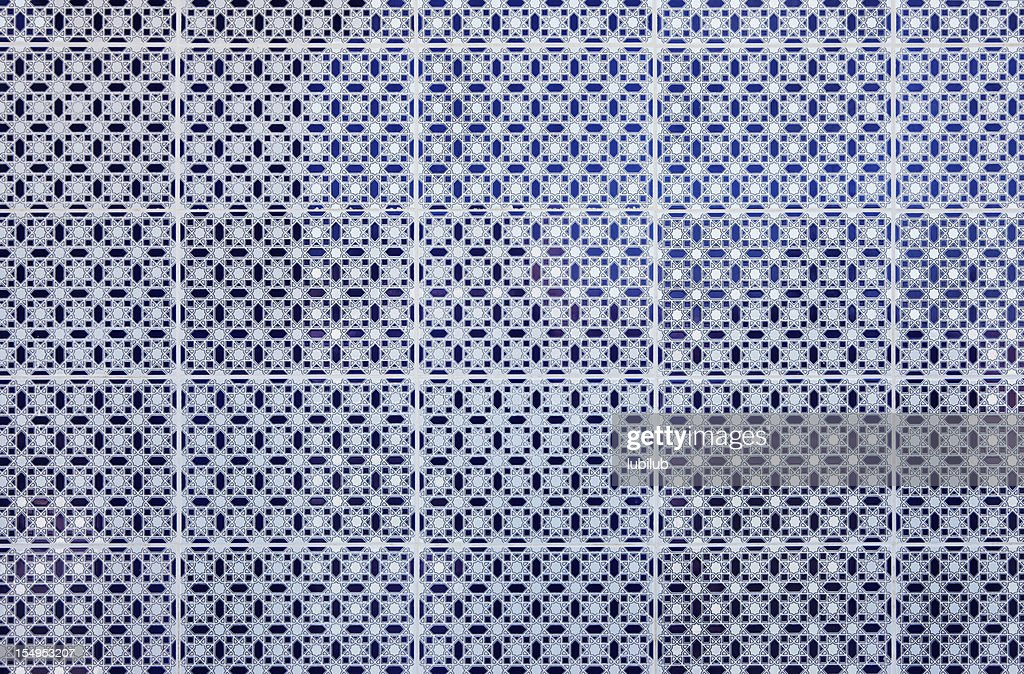 Blue and white pattern on tiles from Meknes medina, Morocco