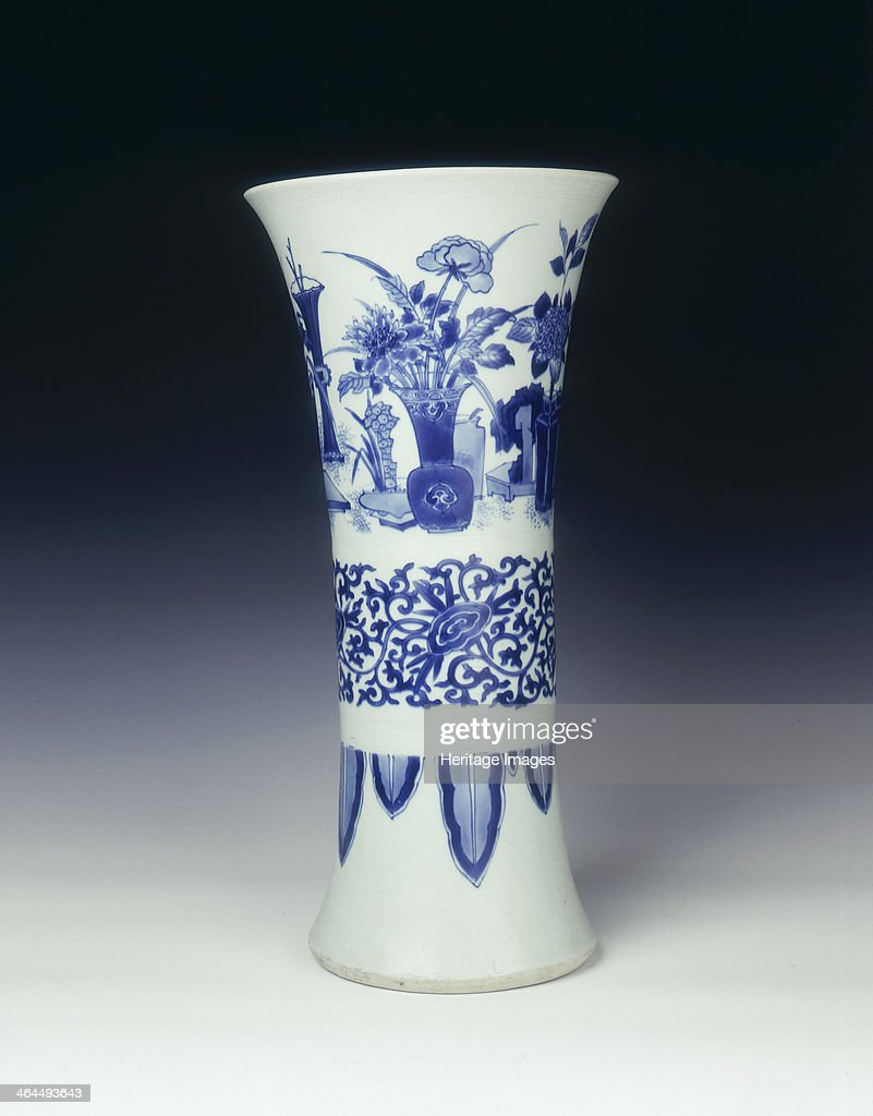 Blue and white trumpet vase China 1639 Transitional period large vase decorated in the top section with various vases fish bowls with fish and lotus...