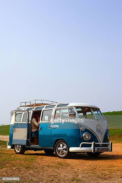 Blue and white Volkswagen Transporter cult vehicle during the 60s and 70s emblematic icon of the hippies and surfers