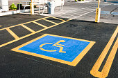parking space reserved for handicapped shoppers in a retail parking lot.