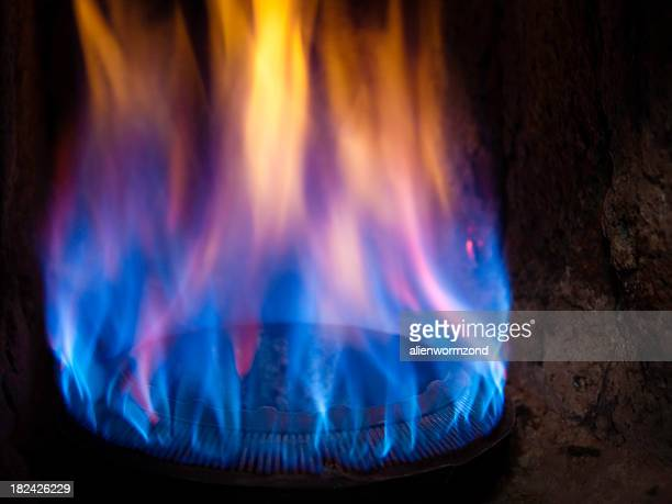 Blue and yellow flames on a gas burner